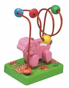Mini Wooden Bead Maze Roller Coaster Pig Great toy for developing motor skills