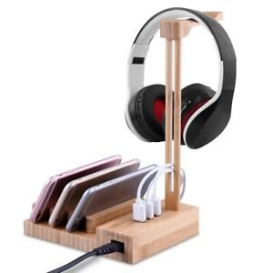 Light Weight Wooden Headphone Hanger Holder Stand With USB Interface Charger USB