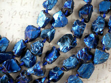 Deep Blue Mystic Aura Crystal Rough Nugget Beads Titanium Coated 20mm #5235