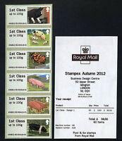 PIGS  Post & Go HYTECH B2  6xIST STRIP  FARM ANIMALS  STAMPEX SEPTEMBER 2012