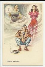cartolina artistica humor  dubbio amletico bella o ricca ?