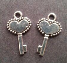 2 - Key Heart Tibetan Silver Charms Ornate Skeleton Dangle Jewelry - NEW