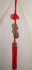 NEW 5 LUCKY COINS FENG SHUI FIGURE KEY CAR MIRROR PURSE RED TASSEL CHARM KNOT