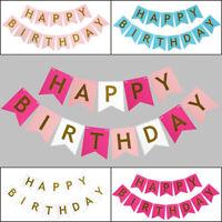 Happy Birthday Banner Bunting Perfekte Hängend Geburtstagsfeier Partydekoration