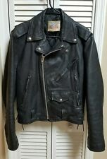 Excelled Black Leather Motorcycle Jacket Size 38 in great shape Punk Rocker