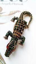 Art Deco Vintage gold plated emerald Rhinestone Alligator Crocodile brooch 149