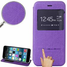 CUSTODIA COVER ECO PELLE FLIP ID VIEW VIOLA IPHONE 6 6G 6S + PELLICOLA