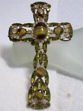 "Art Glass Cross Pendant Brooch 4"" Juliana For Alice Caviness Periodot Rhinestone"