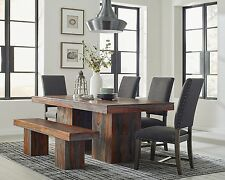 RUSTIC 7 PC SOLID WOOD DINING TABLE AND GREY CHAIRS DINING ROOM FURNITURE SET