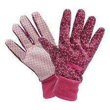 Briers Gardening Glove Burwood Cotton Grip Magenta Pola Dot Womens Medium