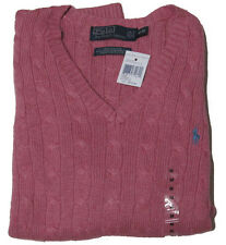 Polo Ralph Lauren Mens RL Silk Cable Knit V Neck Ivy League Pony Logo Sweater