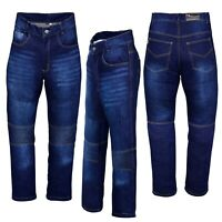 Denim Motorcycle Motorbike Trousers Jeans with Protective Lining Pants Blue Mens