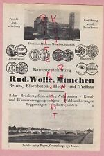 MÜNCHEN, Werbung 1925, Rud. Wolle Bauunternemen Beton Eisenbeton Hoch-Tiefbau