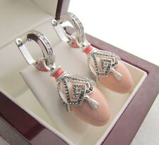 SALE ! OUTSTANDING EARRINGS MADE OF SOLID STERLING SILVER 925 WITH GENUINE CORAL