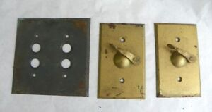 ANTIQUE DOUBLE PUSH BUTTON SWITCH COVER & 2 WEATHERPROOF TOGGLE SWITCH W/ LEVER