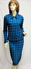 St John Knit COLLECTION NWT Baltic blue Black jacket Skirt SUIT SIZE 10 RT $2490