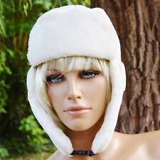 Chapka bonnet chapeau Femme cache oreille fourrure blanc aviateur ZAZA2CATS new