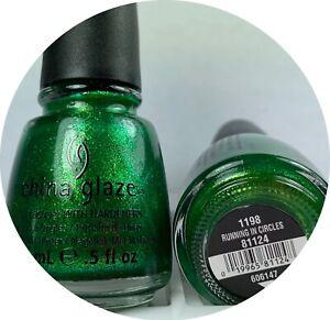 China Glaze Nail Polish Running in Circles 1198 bright foil green micro glitter