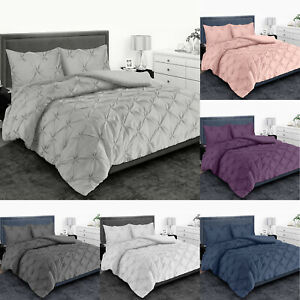 PINTUCK PLEATED DUVET QUILT COVER SET SINGLE DOUBLE SUPER KING SIZE BEDDING