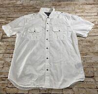 Affliction Black Premium Mens Short Sleeve Button Down Shirt White 2XL Slim EUC