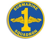 4x4 inch ROUND 1st SUBMARINE SQUADRON Logo Sticker - insignia us military 1 navy