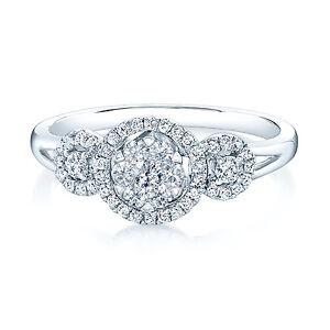 Diamond 3 Stone Ring 14k White Gold Halo Cluster Split Shank Engagement Halo