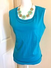 Collections Etc Women's Aqua Blue Sleeveless Cotton Sequin Tank Top Size M NWT