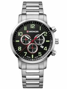 Wenger Watch Men's Watch 01.1543.102 Attitude Chronograph 44mm 10ATM Nip