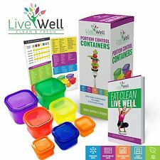 *PORTION CONTROL FOOD CONTAINERS 7 PIECES MULTI COLORED DIET WEIGHT LOSS PREMIUM