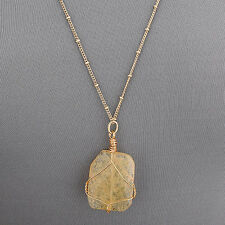 Long Gold Flat Cut Beige Stone Bohemian Style Simple Pendant Necklace