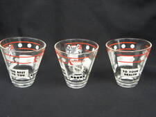 3 Vintage 1950's/60's Whiskey Glasses The Best To You, To You Health, Music Lyre