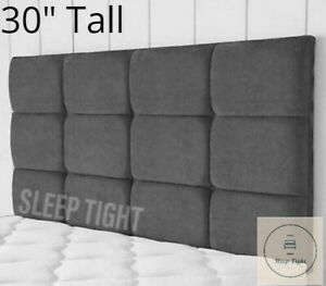 Tall Headboard 12 Cube 30inch Height Chenille Crushed Velvet
