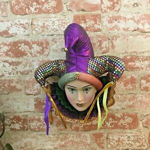 Vibrant colorful porcelain hanging Mardi Gras Jester mask, Mardi Gras wall decor