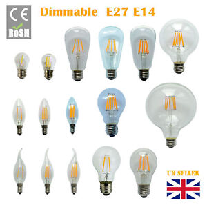Dimmable B22 E27 E14 2/4/6/8W 12W LED Edison Retro Filament Light Lamp Bulb