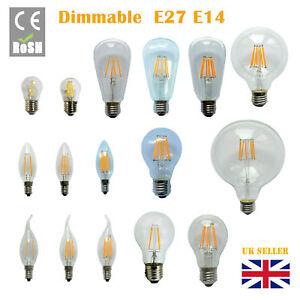 Dimmable E27 B22 E14 2/4/6/8W 12W LED Edison Retro Filament Light Lamp Bulb