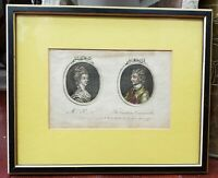1778 English Cameo Portrait Engraving of Mrs. P_t and The Cautious Commander