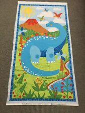Dinosaur Quilting Fabric Panel Baby Boy Fabric Quilt Panel Prehistoric MARKED