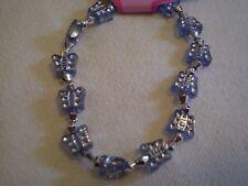 Blue Butterfly & Silver Bead Bracelet - PH144