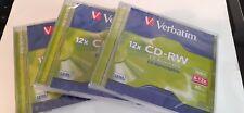 Verbatim CD-RW x 3 Discs 700MB 80min 8x - 12x Brand New and Factory Sealed