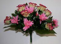Bouquet Rose-Dahlia x 19  Fleurs Artificielles intérieur/extérieur