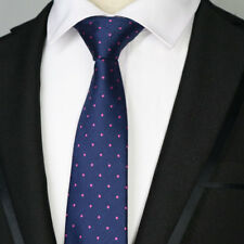 "7CM Mens Ties 57"" Navy Blue Pink Dots Wedding Silk Tie Man Necktie Accessories"