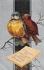 BB London~Fat Birds on Branch~However Far Yet Near~Silver Back~1910 Postcard