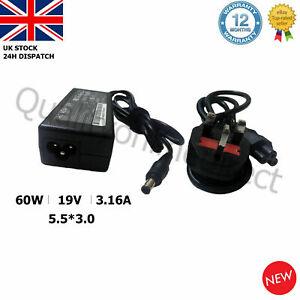 GENUINE SAMSUNG R519 v300 adp60zh-d AD-6019R NP350V5C-A09UK CHARGER + UK CORD
