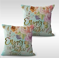 US SELLER-set of 2 living room enjoy the little things flower cushion cover