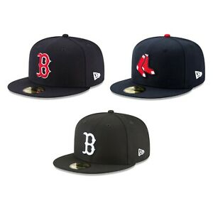 Boston Red Sox BOS MLB Authentic New Era 59FIFTY Fitted Cap - 5950 Hat Navy Blk