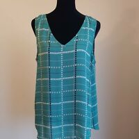 Apt. 9 Green Plaid Sleeveless Houndstooth Top