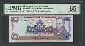 Nicaragua 500 Cordobas 1985(ND1988) P155 Uncirculated Graded 65