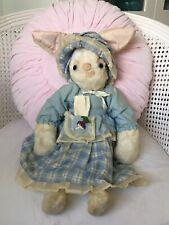 VTG 1960s White PLUSH BUNNY Rabbit Floppy Doll TOY Handmade BLUE DRESS & Bonnet