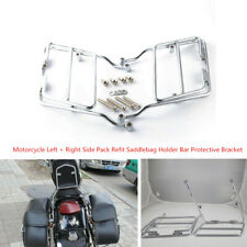 2PCS Steel Motorcycle Side Pack Refit Saddlebag Holder Bar Protective Bracket