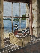 Vintage Duck Decoy Needlepoint Canvas Hunting Lake Man Cave